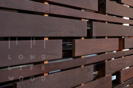 Забор термообработанный ясень (темный) - 3